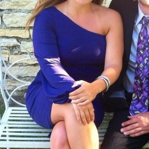 Fitted purple one sleeve dress